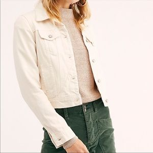 NWT Free People Rumors Denim Jacket in Ivory